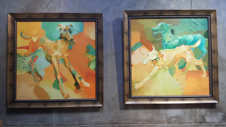 Dogs Abstract Surrealist Paintings For Sale 1