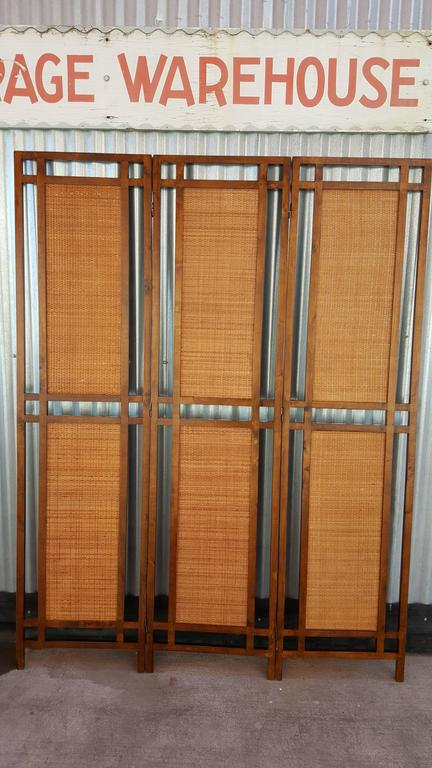 Rattan And Wood Room Divider Screen For 2