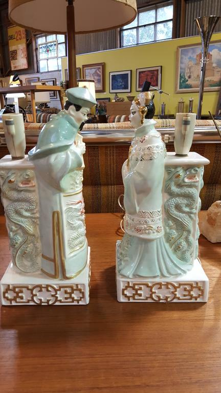 Chinese Emperor And Empress Porcelain Table Lamps For Sale
