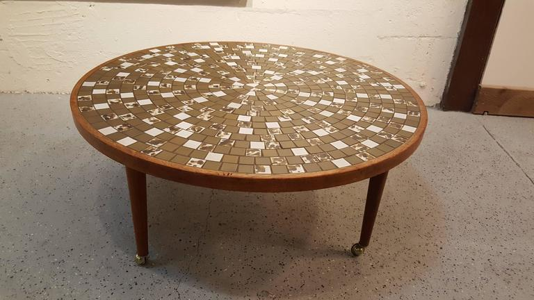 Walnut Martz Mosaic Tile Coffee Table For Sale