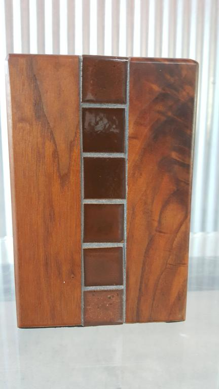 Mid-Century Modern Gordon Martz Walnut and Tile Bookends For Sale