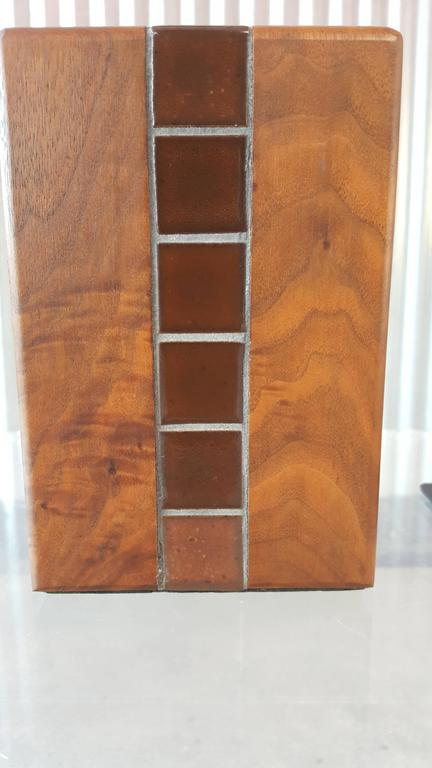 American Gordon Martz Walnut and Tile Bookends For Sale