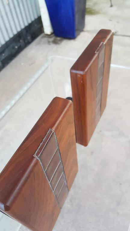Mid-20th Century Gordon Martz Walnut and Tile Bookends For Sale