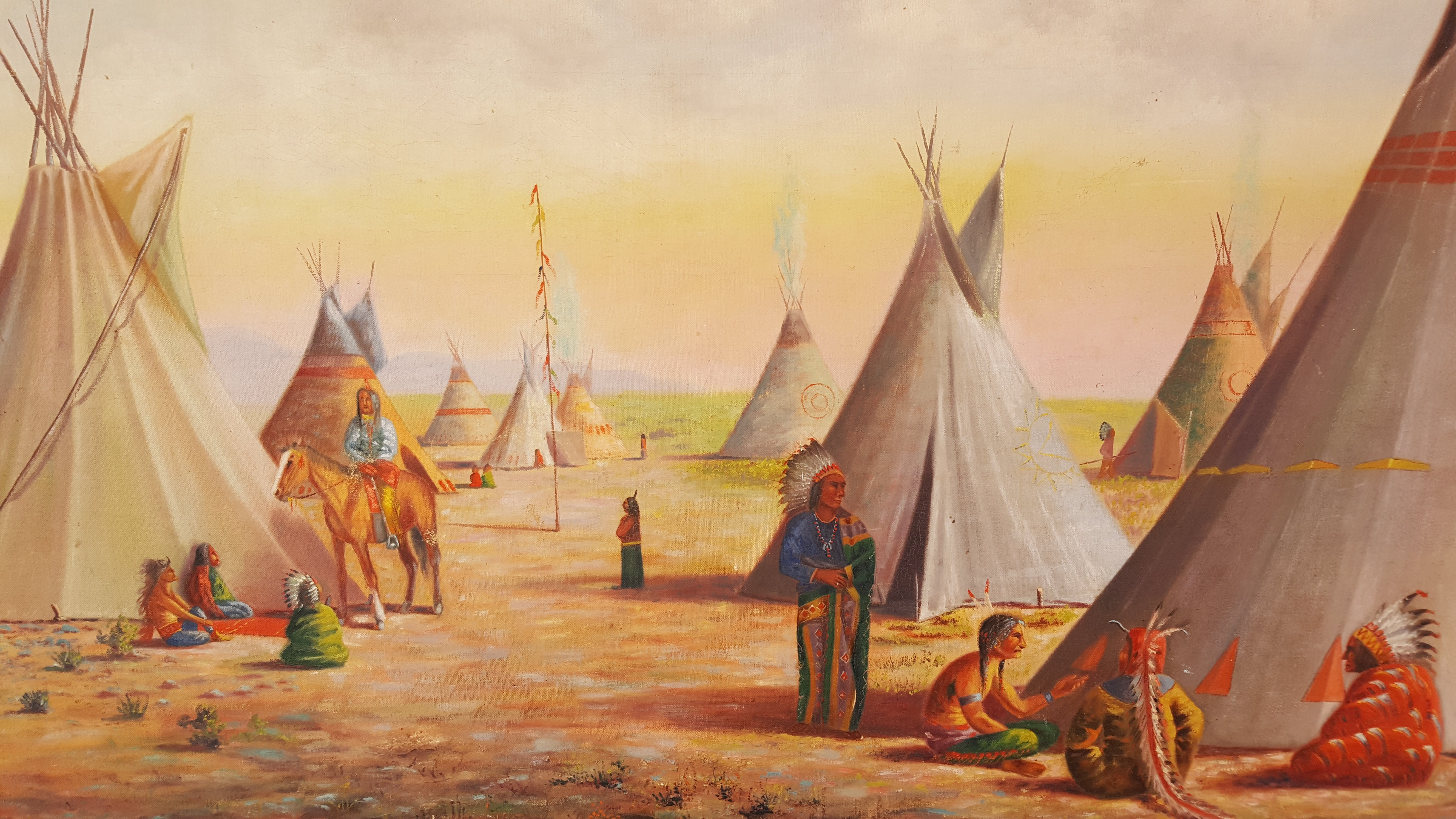Large Oil Painting of Native American Indian Village For Sale at 1stdibs