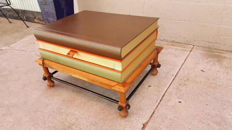 """Scarce John Dickinson Shakespeare stacking books end table. Center book  drawer with bookmark as pull. Made by Drexel Furniture, circa. 1960's. Very good original condition with light, age appropriate wear. Top surface measures 28""""W"""