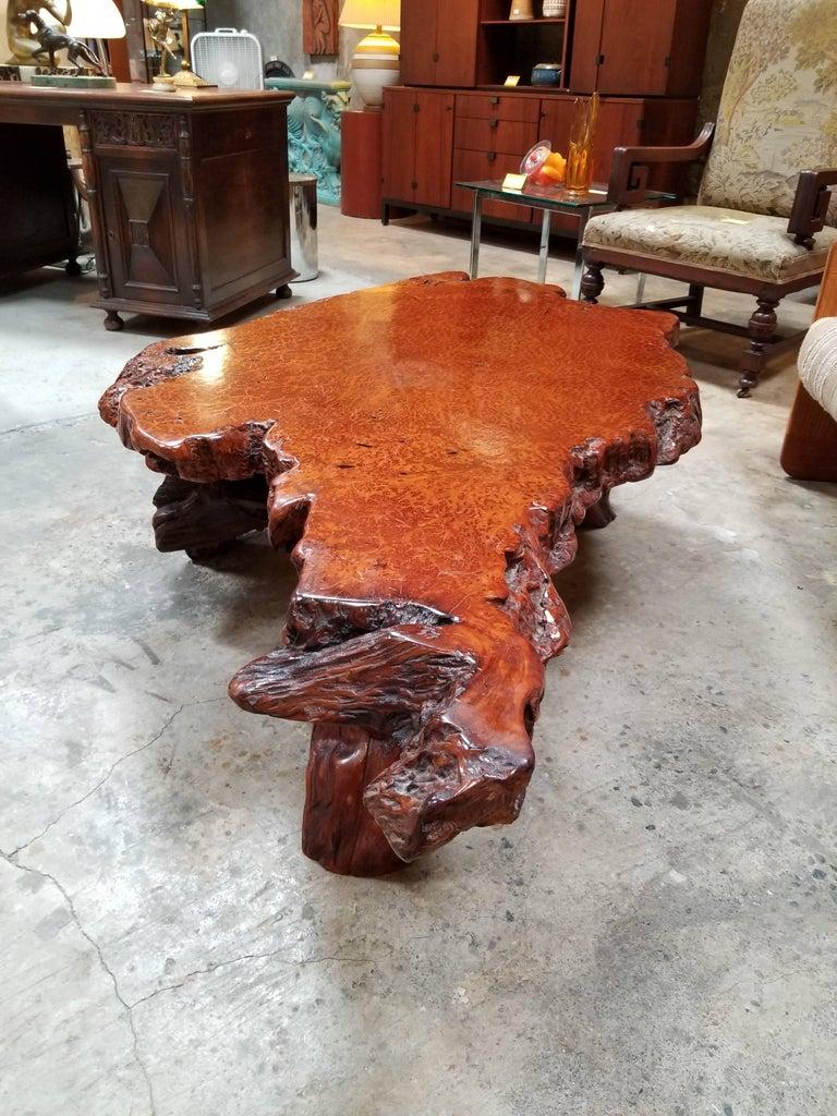 highly figured redwood burl coffee table for sale at 1stdibs. Black Bedroom Furniture Sets. Home Design Ideas