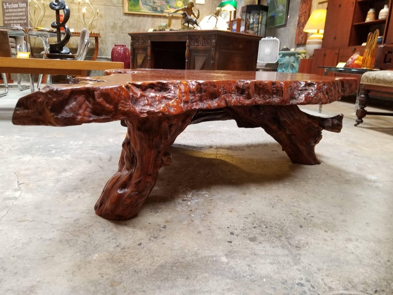 Highly Figured Redwood Burl Coffee Table For Sale At 1stdibs