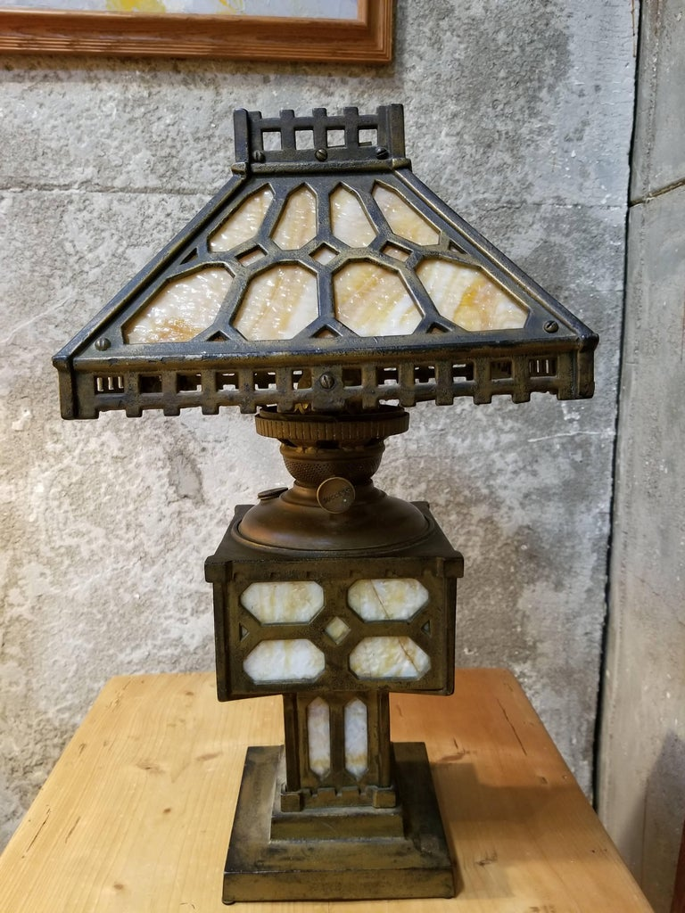 Arts And Crafts Slag Glass And Iron Table Lamp For Sale At 1stdibs