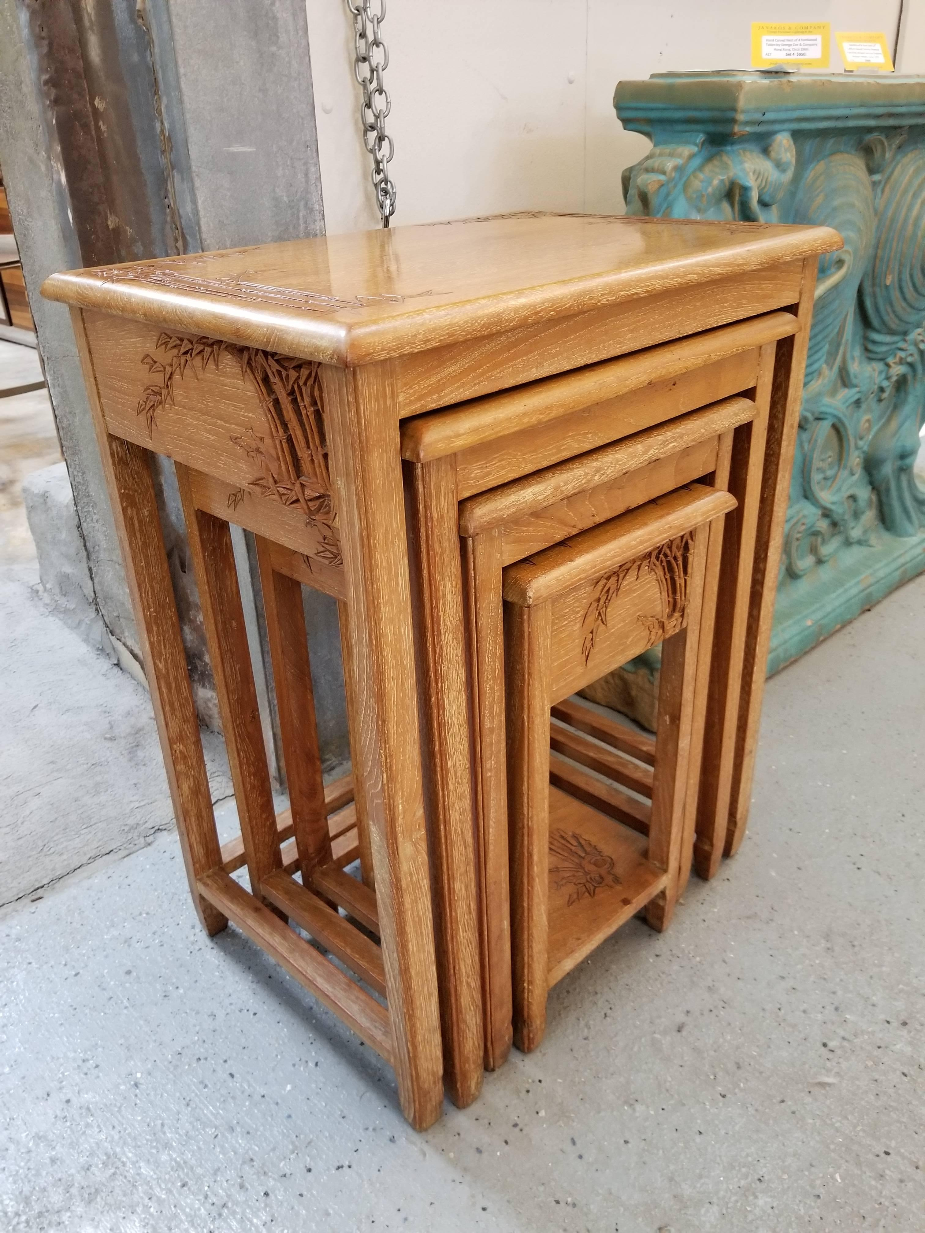 Chinese Export Carved Chinese Nesting End Tables By George Zee For Sale