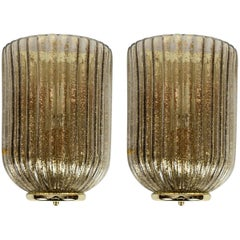 Pair of Murano Glass Sconces in the Style of Séguso