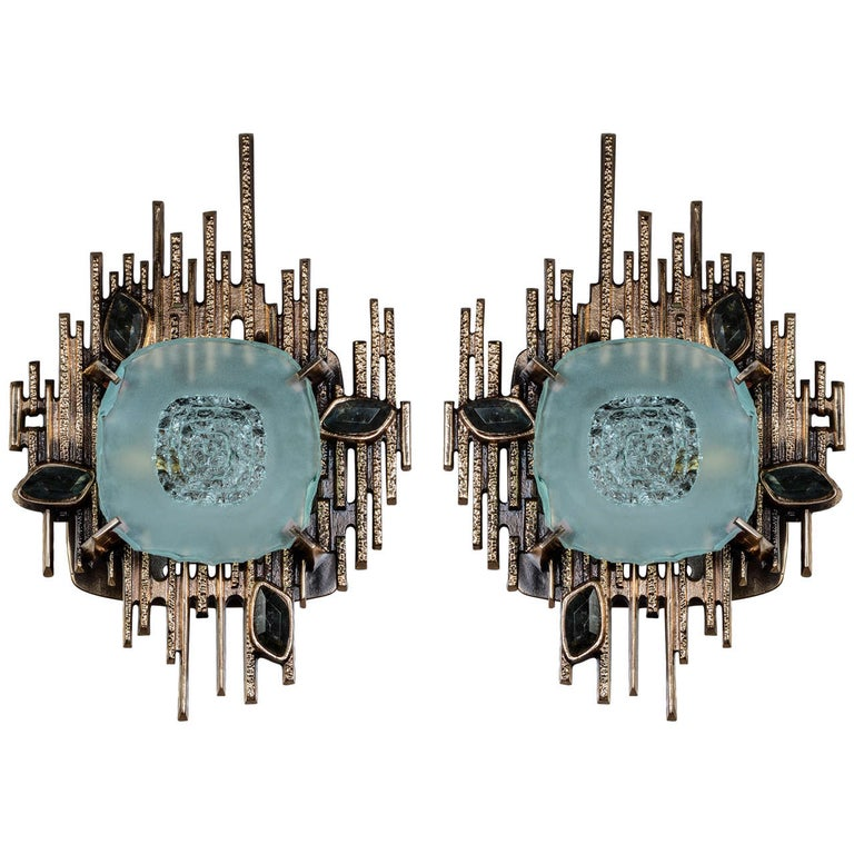 Pair of Sculptural Sconces Designed by Régis Royant