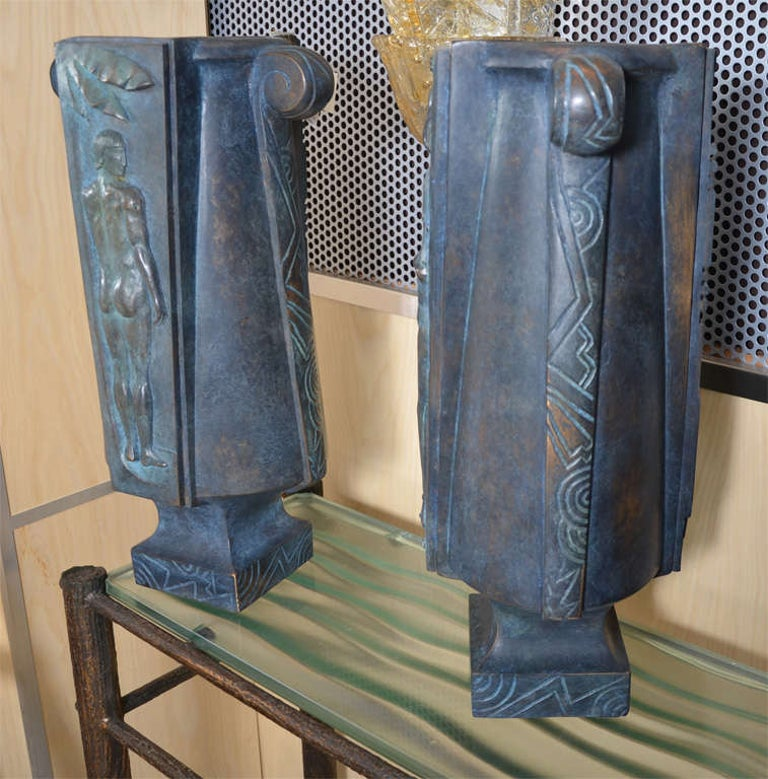 French Huge and Fantastic Art Deco Lamps For Sale