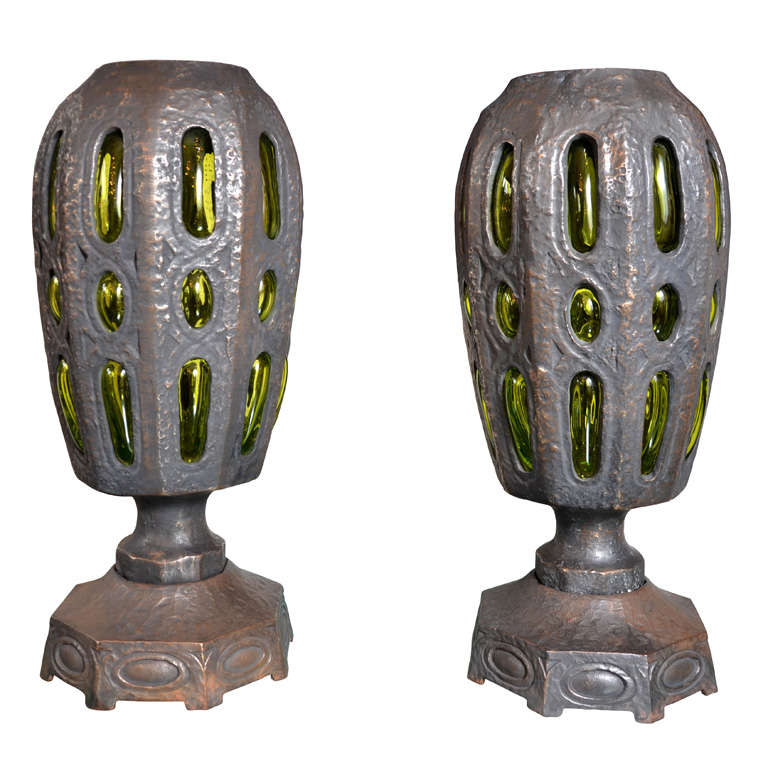 Awesome Pair of Solid Bronze Lamps Attributed to Robert Phandeve
