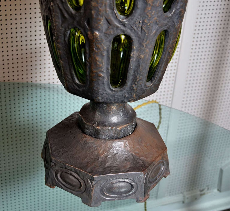 Awesome Pair of Solid Bronze Lamps Attributed to Robert Phandeve In Excellent Condition For Sale In Bois-Colombes, FR