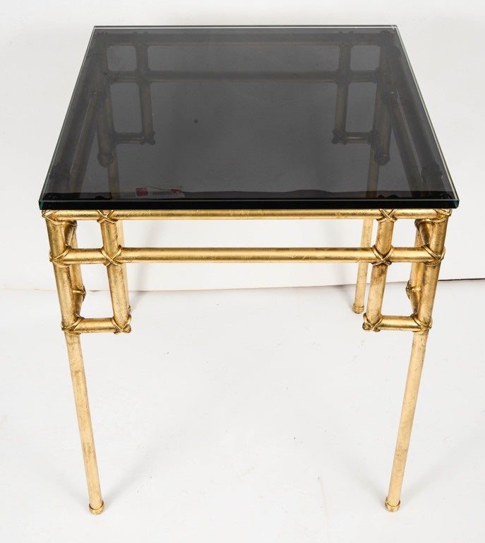 Gilt Pair of Side Tables in the Style of Baguès For Sale
