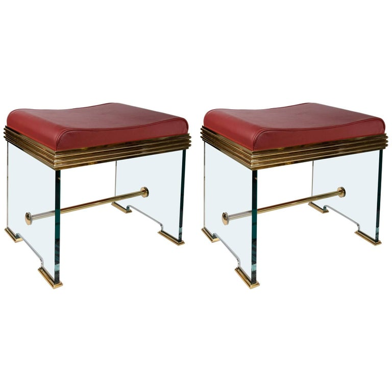 Important Pair of Stools in the Manner of Fontana Arte