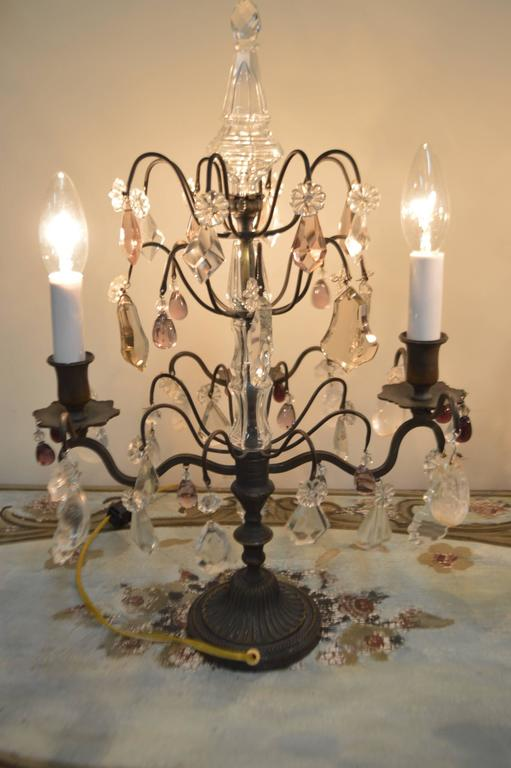 This american art nouveau table lamp is no longer available - Pair Of Louis Xv Style Bronze And Crystal Candelabra At