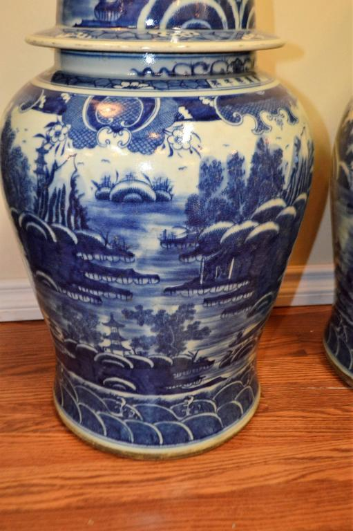 One Of A Kind Chinese Highly Decorative Cobalt Blue And White Porcelain Ginger Jars