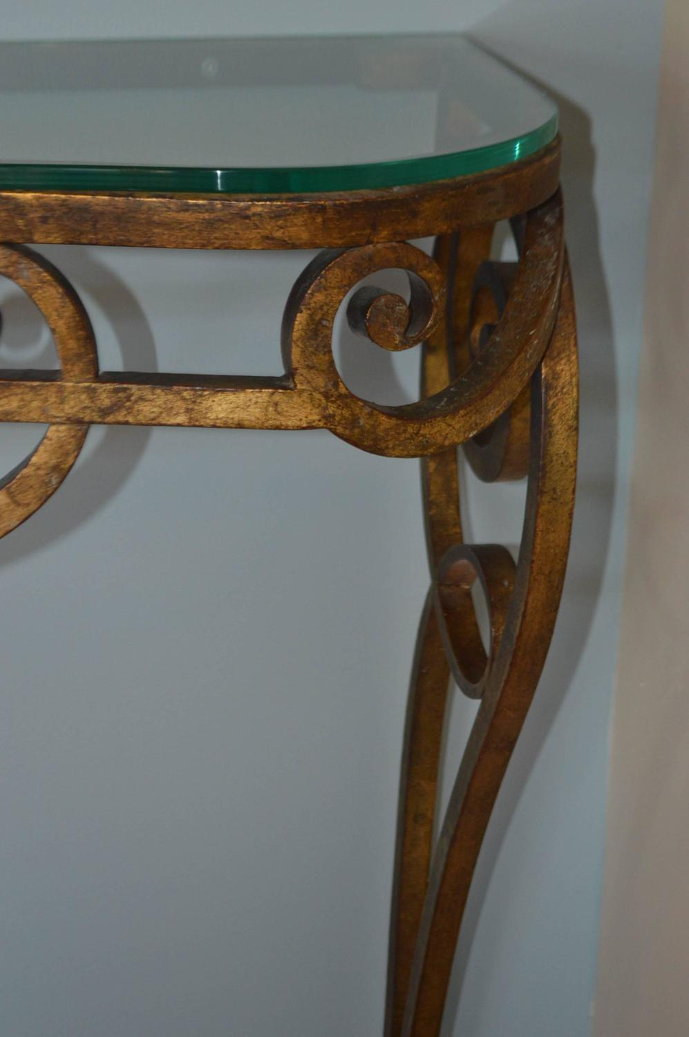 Wrought Iron Gilded Console Table With Glass Top For Sale