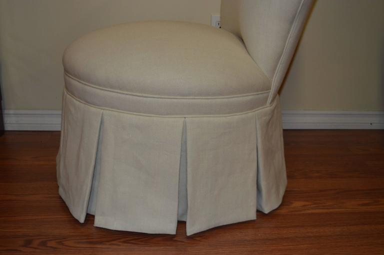 Lovely And Comfy Vintage Slipper Chair Newly Upholstered In A Beige Linen  Fabric.