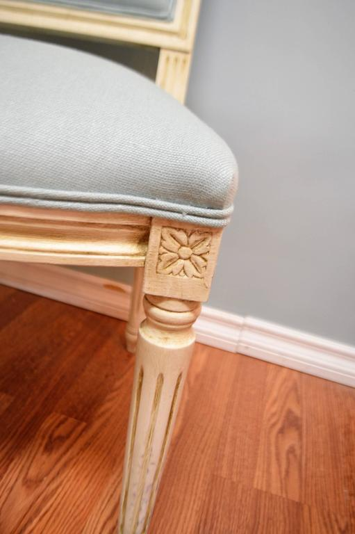 Painted Louis XVI Style Square Back Dining Chair for Custom Order For Sale