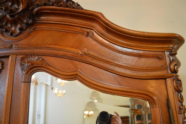 Louis xv style two mirror doors walnut armoire with for Amazing hand carved doors