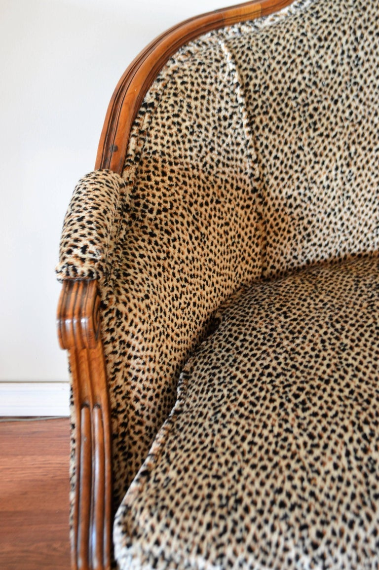 French Louis XVI Style Walnut Sofa Newly Upholstered in a Leopard Pattern Chenille For Sale