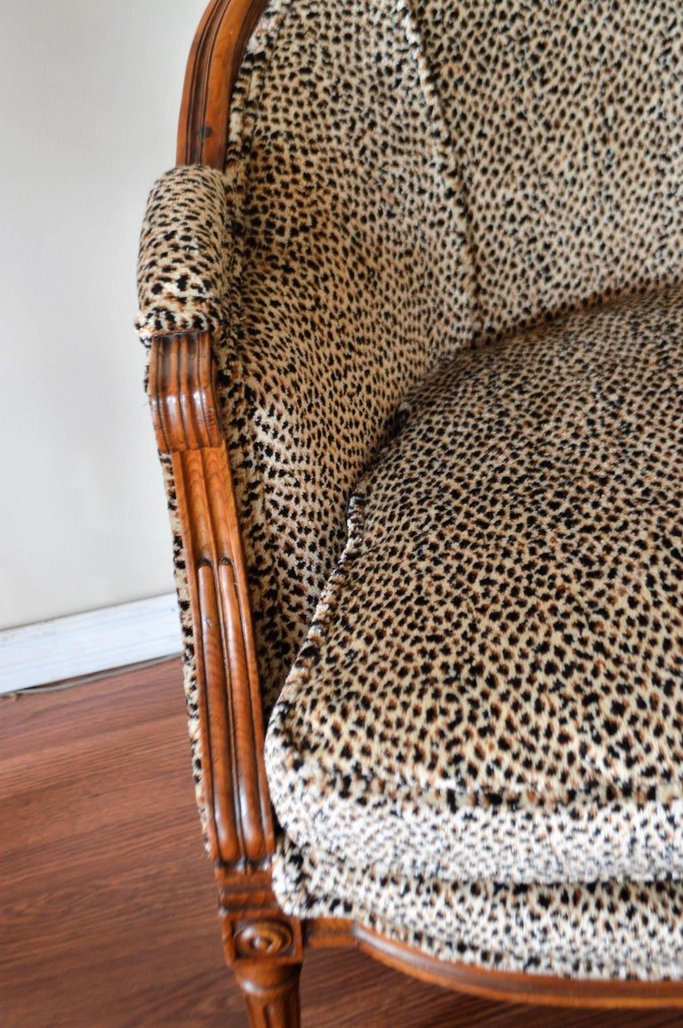 Louis XVI Style Walnut Sofa Newly Upholstered in a Leopard Pattern Chenille For Sale 1