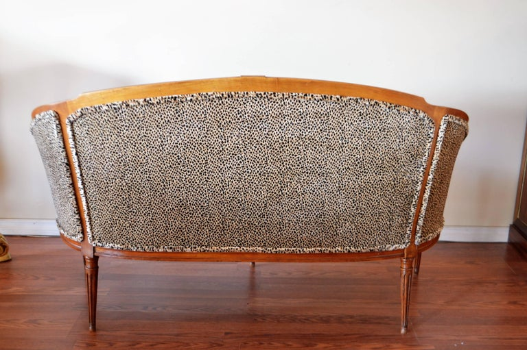 Louis XVI Style Walnut Sofa Newly Upholstered in a Leopard Pattern Chenille For Sale 4