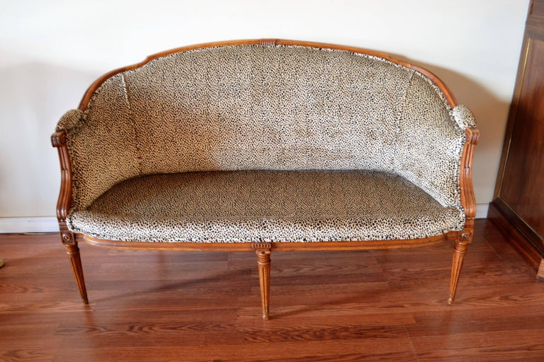 Louis XVI Style Walnut Sofa Newly Upholstered in a Leopard Pattern Chenille For Sale 5