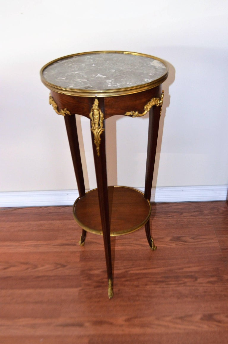 Louis Xv Style Mahogany Round Side Table With Bronze