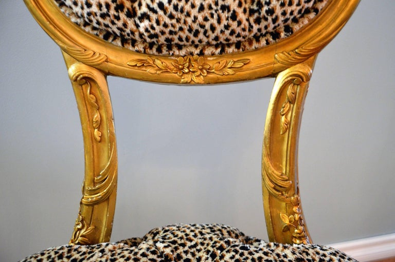 Gilt Pair of Louis XV Style Gilded Side Chairs, Upholstered in Leopard Type Fabric For Sale