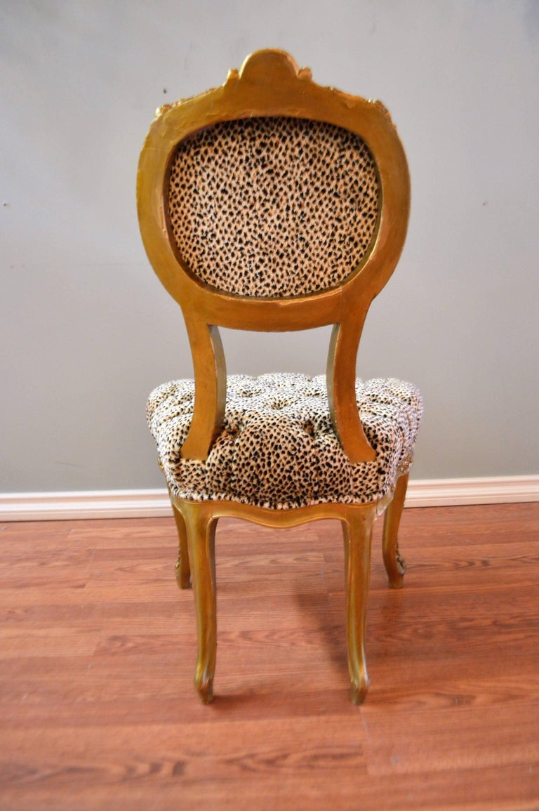 Chenille Pair of Louis XV Style Gilded Side Chairs, Upholstered in Leopard Type Fabric For Sale