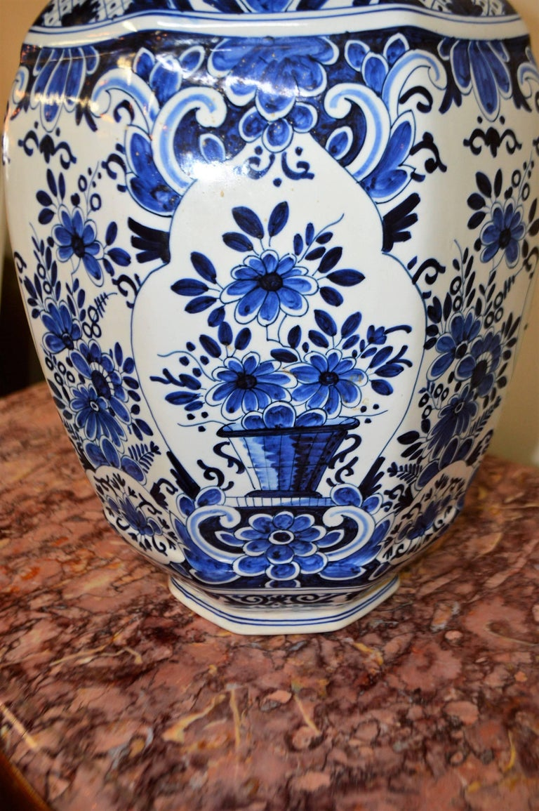 Pair of blue and white delft ginger jars vases base marking at dutch colonial pair of blue and white delft ginger jars vases base marking for reviewsmspy