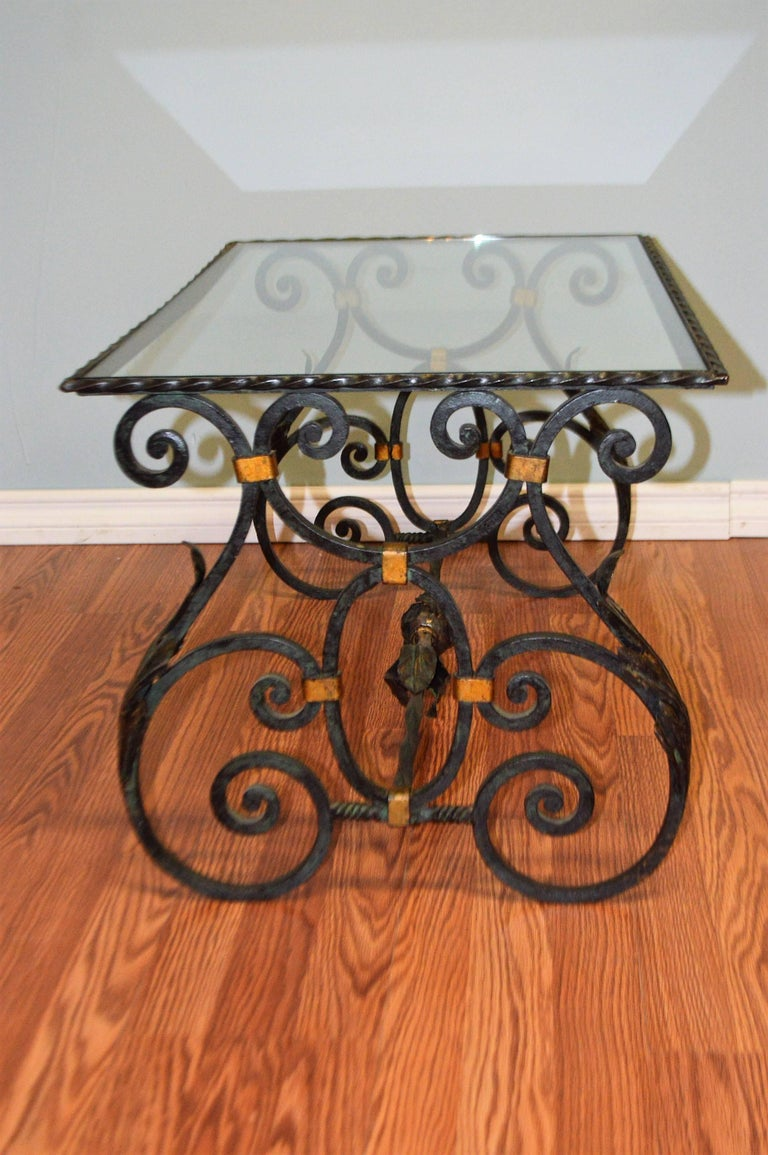 French Black With Gold Wrought Iron Cocktail Table With
