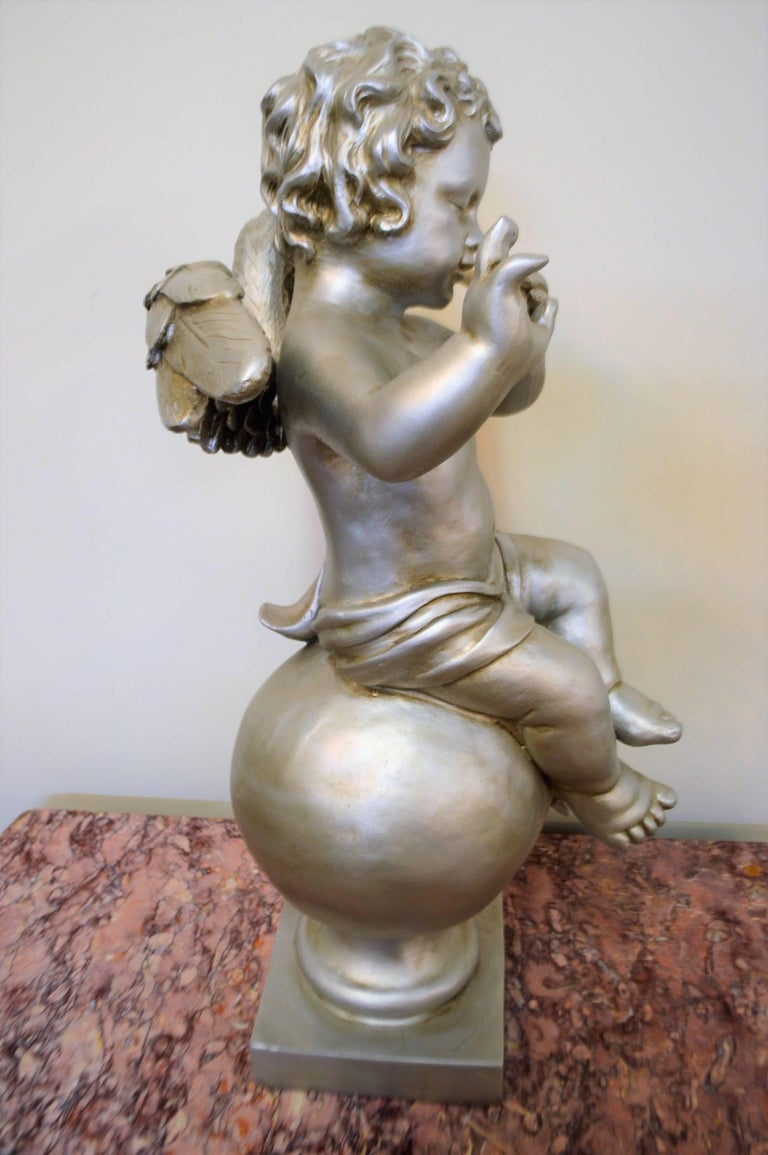 Italian Pair of Silver Ornamental Musician Cherub Sculptures For Sale