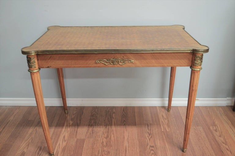 20th Century Louis XVI Style Writing Table with Diamond In-Lay Top, Bronze Ornaments, Drawer For Sale
