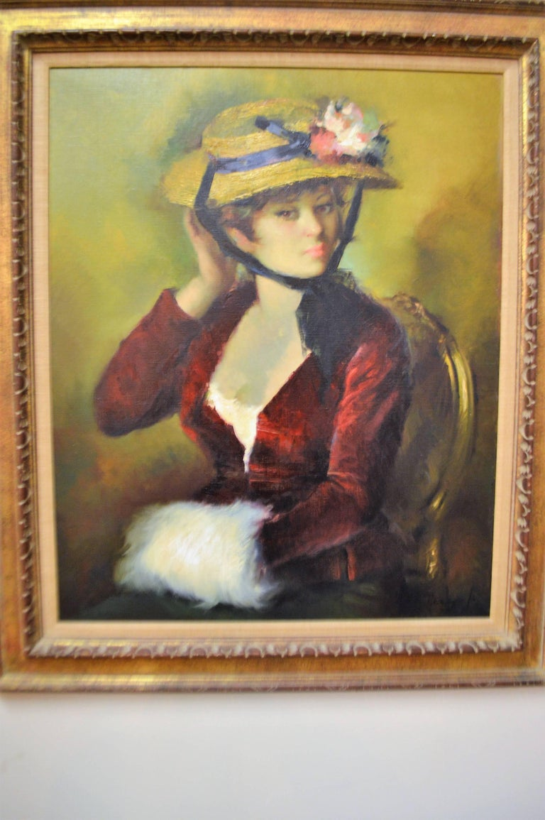 Charming and decorative oil painting of a pretty French woman wearing a straw hat.