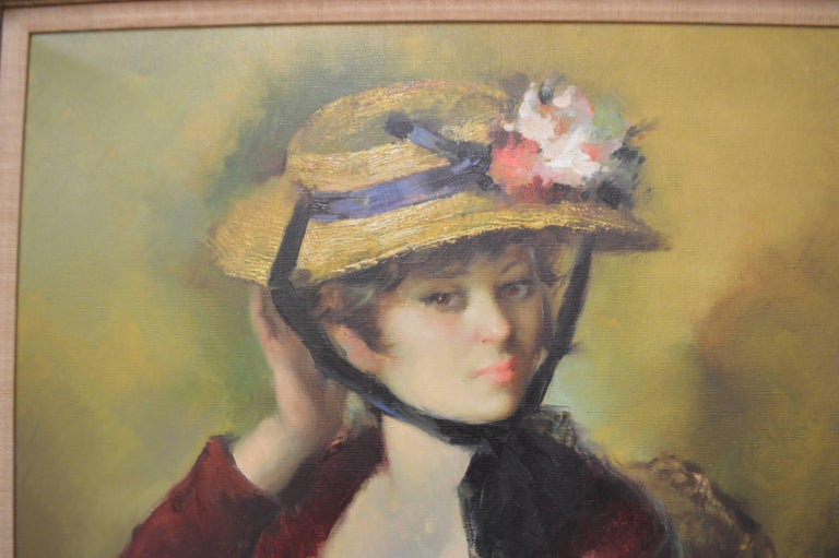 Belle Époque 20th Century Framed Oil Painting, Colorful Portrait of a French Women with Hat For Sale