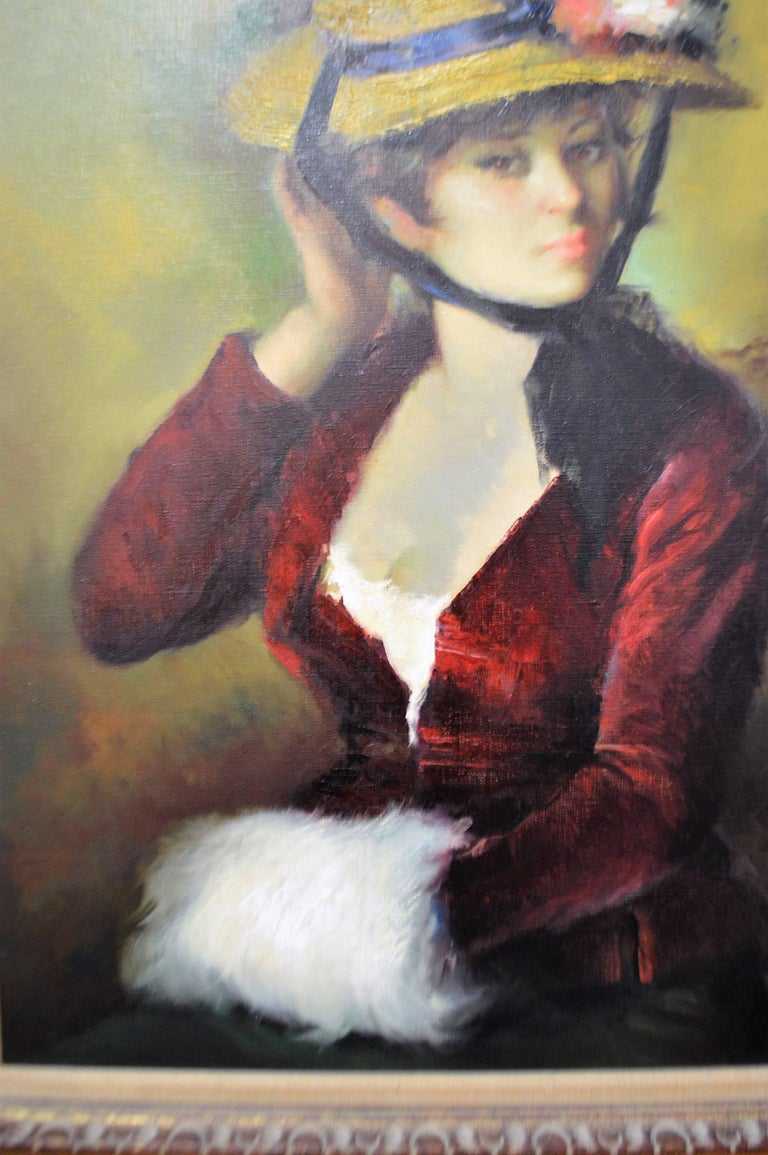 Gilt 20th Century Framed Oil Painting, Colorful Portrait of a French Women with Hat For Sale