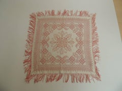 Antique Red and White Russian Embroidery Table Topper