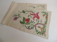 Antique Alegorical Embroidery Red and Green Table Runner