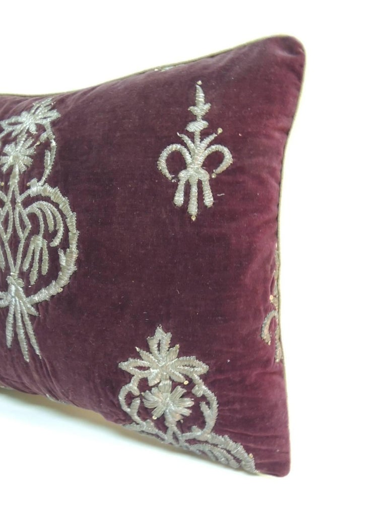 18th century Persian metallic threads embroidered throw pillow. Handcrafted accent pillow with metallic silver color threads embroidered onto a brown silk velvet with custom silk gold piping same as backing One-of-a-kind 18th century textile
