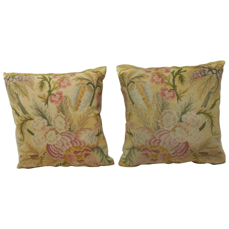 Pair of 19th Century Yellow and Pink Tapestry Decorative Pillows