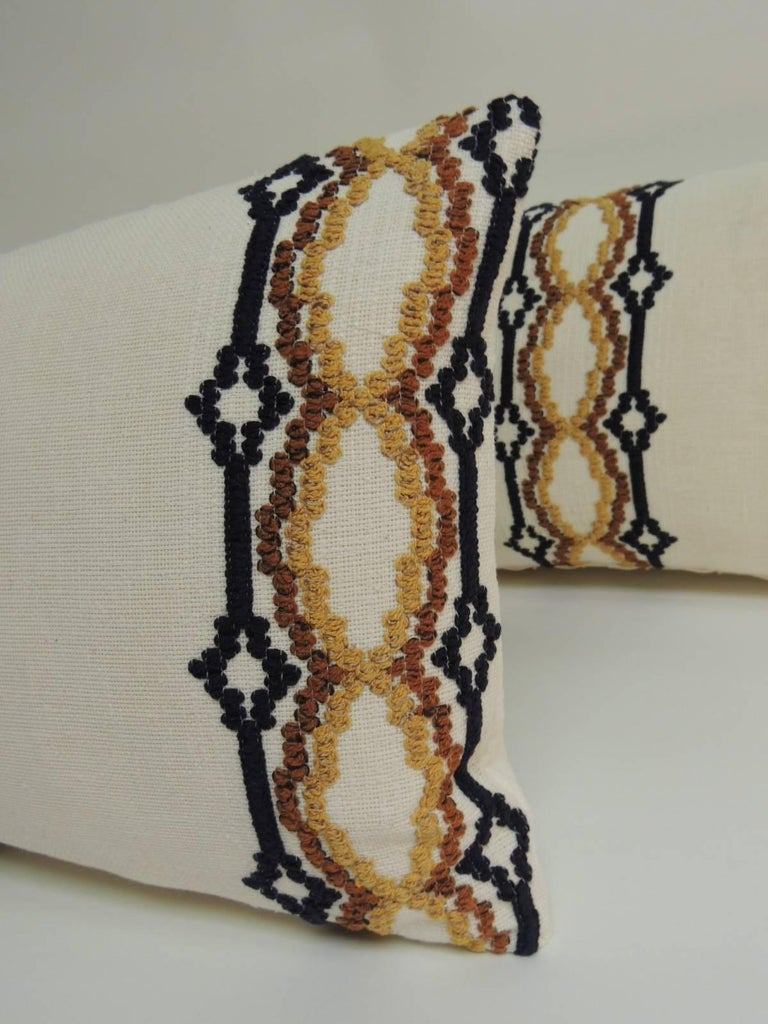 Pair Of Vintage Woven Swedish Embroidery Style Decorative Bolster