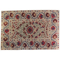 Large Floral Embroidery Suzani Artisanal Multi-Color Textile Mounted on Wood