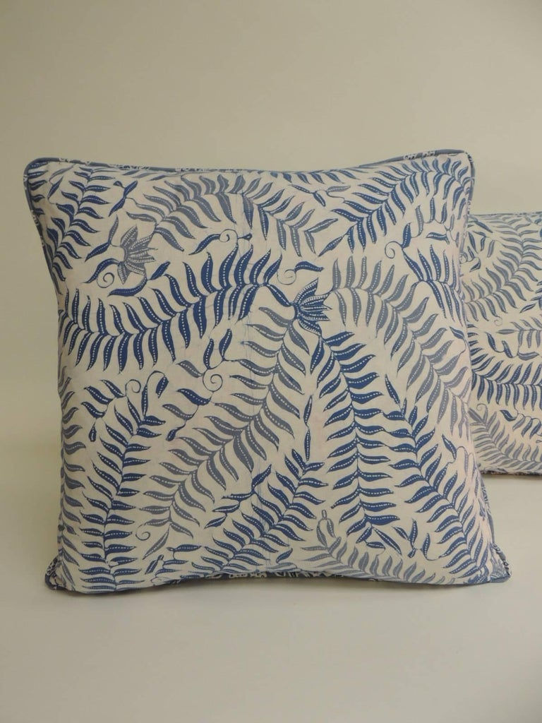 Pair Of Vintage Batik Blue And White Square Decorative Pillows Fl
