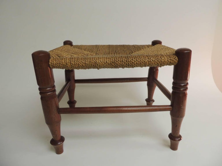 Arts and Crafts Antique Rush Seat Arts & Crafts Low Stool For Sale