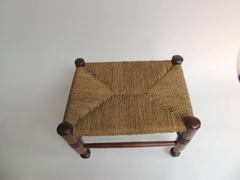 Antique rush seat Arts & Crafts low stool