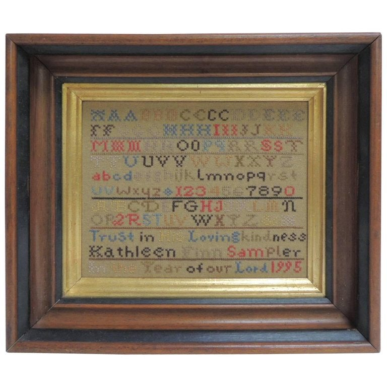 Vintage Alphabet Hand Embroidery Sampler On Wooden Frame For Sale At